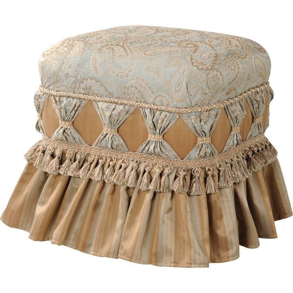 Jennifer Taylor Beige Ruffle Skirt Upholstered Ottoman