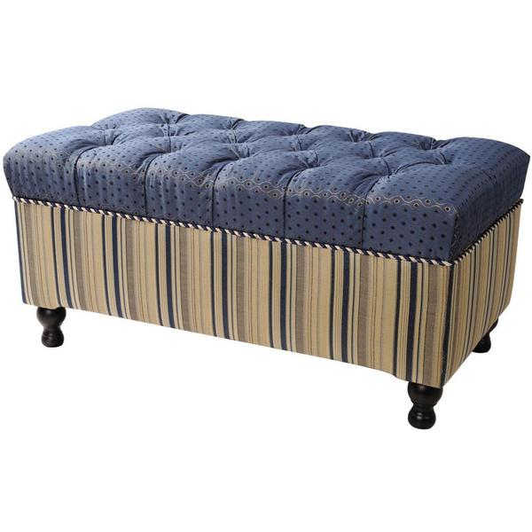 Jennifer Taylor Blue/ Ivory Hampton Storage Bench