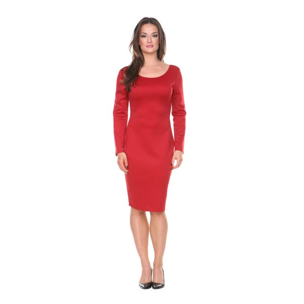 Stanzino Women's Missy Solid Long Sleeve Midi Dress