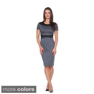 Stanzino Women's Colorblocked Short Sleeve Midi Dress