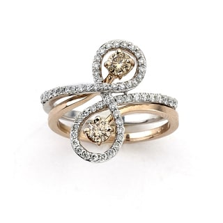 Diamonds for a Cure 14k Two-tone Gold 4/5ct TDW Champagne and White Diamond Interlocking Infinity Ring (G-H, I2-I3)