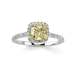 Diamonds for a Cure 14k White Gold 1 4/5ct TDW Fancy Yellow and White Diamond Square Ring (G-H, SI1-SI2)