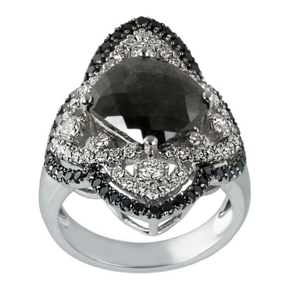 Contessa 14k White Gold 4 1/5 ct TDW Black and White Diamond Ring