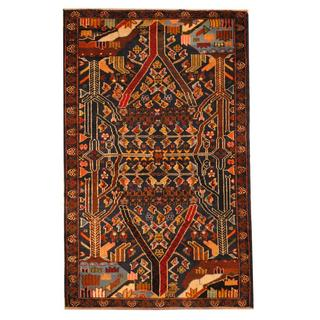 Herat Oriental Semi-antique Afghan Hand-knotted Tribal Balouchi Navy/ Ivory Wool Rug (2'9 x 4'5)