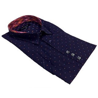Bogosse Men's Purple Dotted Short Sleeve Button-down Shirt