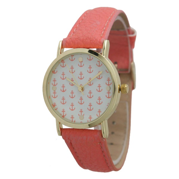 Olivia Pratt Women's Mini Anchor Leather Strap Watch