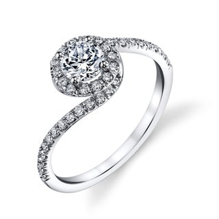 14k White Gold 3/5ct TDW Round Halo Diamond Engagement Ring