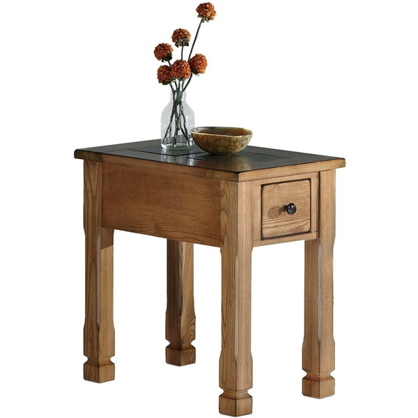 Rustic Ridge Lite Oak Veneer/ Elm Chairside Table