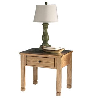 Rustic Ridge Lite Oak Veneer/ Elm Square Lamp Table