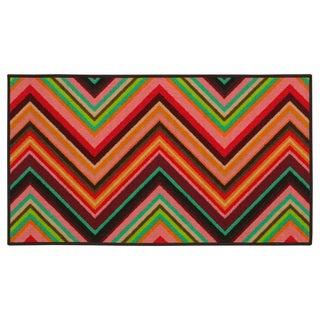 Chevron Youth Loop-pile Pink/ Orange Rug (4'4 x 6'9)