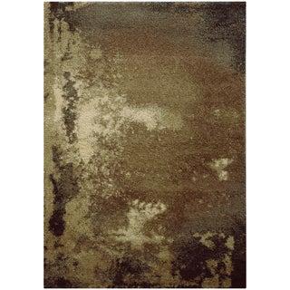 Abstract Shag Tan/ Grey Rug (9'10 x 12'10)