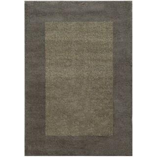 Two-tone Border Shag Grey/ Beige Rug (9'10 x 12'10)
