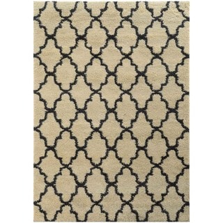 Scalloped Lattice Shag Ivory/ Midnight Rug (7'10 x 10'10)