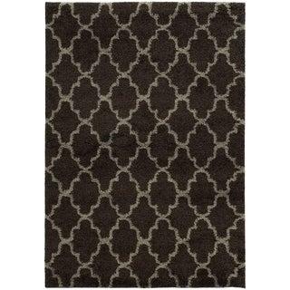 Scalloped Lattice Shag Midnight/ Grey Rug (7'10 x 10'10)