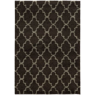 Scalloped Lattice Shag Midnight/ Grey Rug (9'10 x 12'10)