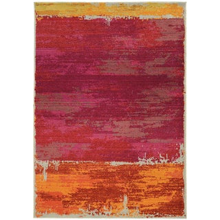Faded Abstract Orange/ Pink Area Rug (6'7 x 9'1)