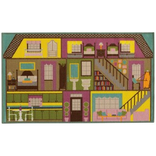 Doll House Youth Loop-pile Green/ PurpleRug (2'2 x 3'9)