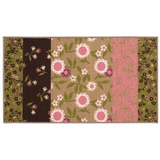 Floral Youth Loop-pile Brown/ Pink Rug (2'2 x 3'9)