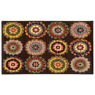 Floral Youth Loop-pile Brown/ Pink Rug (4'4 x 6'9)