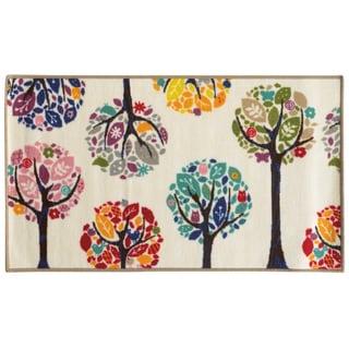 Floral Youth Loop-pile White/ Multi Rug (4'4 x 6'9)