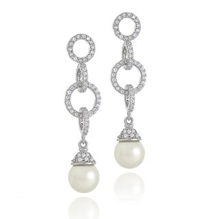 Glitzy Rocks Sterling Silver Cubic Zirconia Faux Pearl Earrings