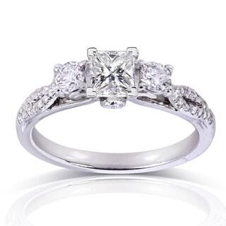 Annello 14k White Gold 4/5ct TDW Princess-cut Diamond Engagement Ring (H-I, I1-I2)