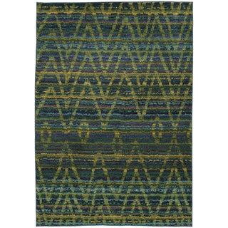 Tribal Chevron Etchings Green/ Blue Rug (6'7 x 9'1)