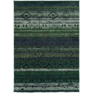 Tribal Etchings Green/ Blue Rug (5'3 x 7'6)