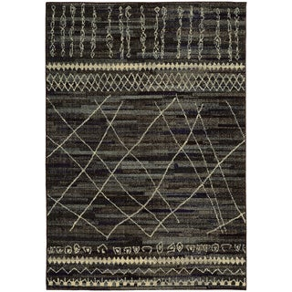 Updated Old World Tribal Black/ Beige Rug (5'3 x 7'6)