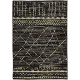 Updated Old World Tribal Black/ Beige Rug (7'10 x 10'10)