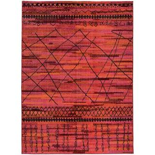 Updated Old World Tribal Orange/ Pink Rug (6'7 x 9'1)