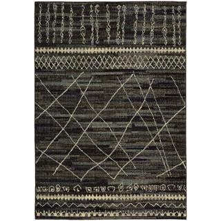 Updated Old World Tribal Black/ Beige Rug (9'9 x 12'2)