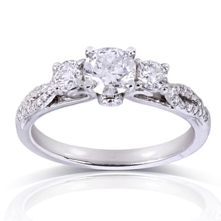 Annello 14k White Gold 4/5ct TDW Round-cut Diamond Engagement Ring (H-I, I1-I2)
