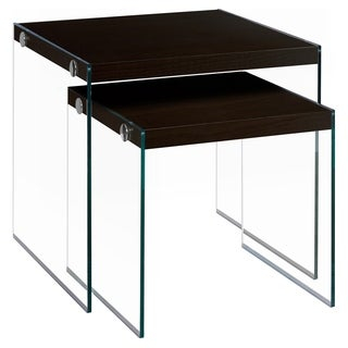 Cappuccino Tempered Glass Nesting Table Set (2-Pieces)