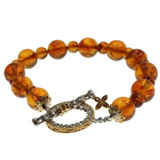Michael Valitutti Gold over Silver Amber Bead Bracelet
