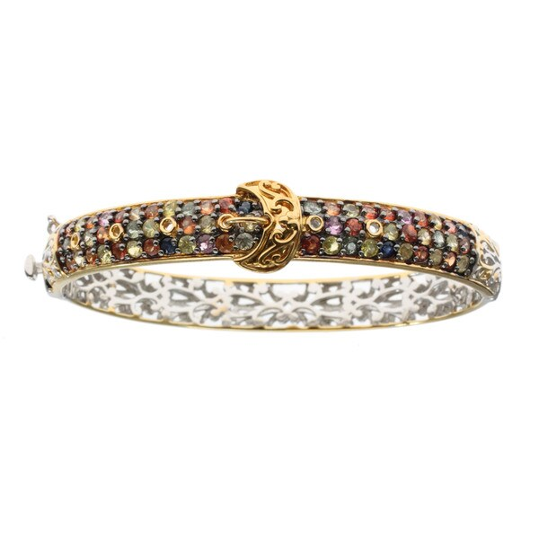 Michael Valitutti Palladium Silver Multi Sapphire Buckle Bracelet