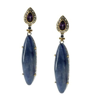 Michael Valitutti Gold over Silver Kyanite Amethyst and Sapphire Dangle Earrings