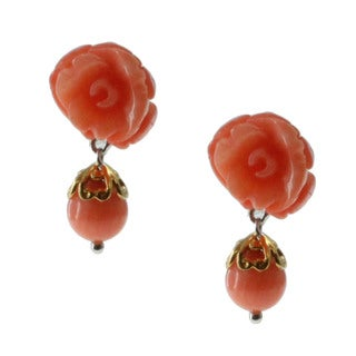 Michael Valitutti Gold over Silver Coral Rose Earrings