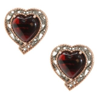 Michael Valitutti Palladium Silver Deep Amber Heart Stud Earrings