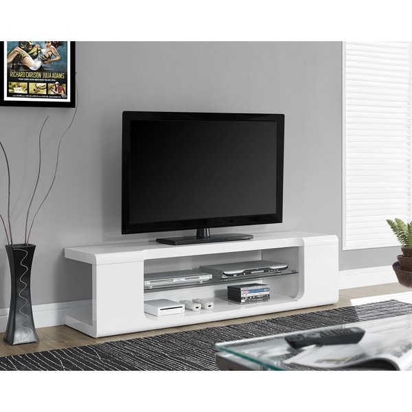 White Tempered Glass 2-drawer 60-inch TV Console