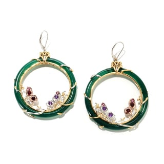 Michael Valitutti Gold over Silver Green Agate Butterfly Hoop Earrings