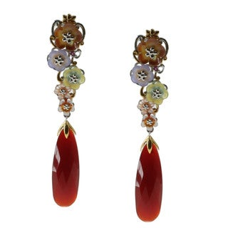 Michael Valitutti Silver Carnelian Floral Mother of Pearl Drop Earrings