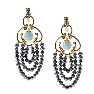 Michael Valitutti Aquamarine and Peacock Pearl Earrings (4-5 mm)