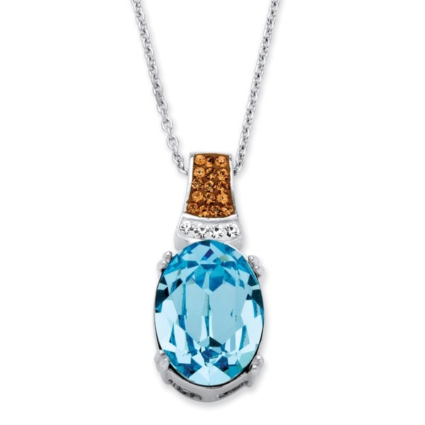 PalmBeach Platinum over Silver Aqua Swarovski Elements Crystal Pendant Necklace