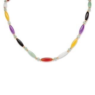 "PalmBeach Multicolor Jade 14k Yellow Gold Beaded and Barrel Shapes Link Necklace 18"" Naturalist"