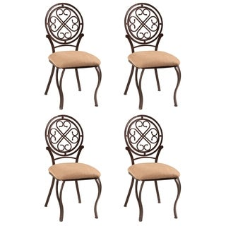 Lizzy Metal Hammered Brown Traditional Side Chair (Set of 4)