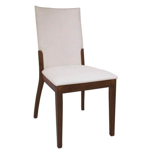 Somette Luisa Dark Walnut/ Cream Upholstered Back Side Chair (Set of 2)