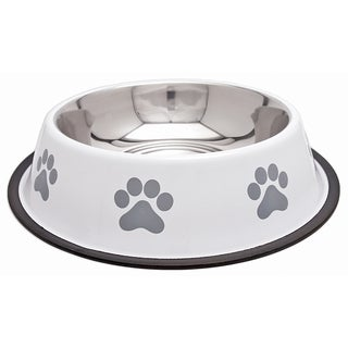 Fashion Steel Bowl White W/Grey Paw 64oz-