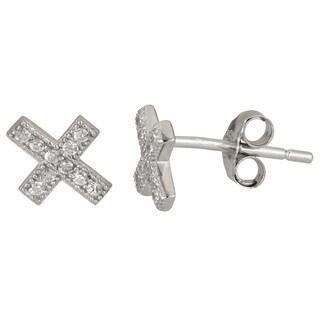 Sterling Silver Cubic Zirconia Cross Micropave Stud Earrings