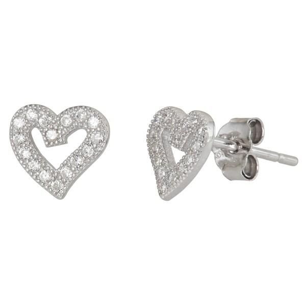 Sterling Silver Cubic Zirconia Heart Stud Earrings